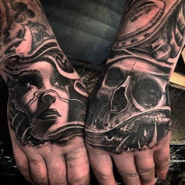 Hands Tattoo portrait Skull 3D   #Tattoo, #Tattooed, #Tattoos