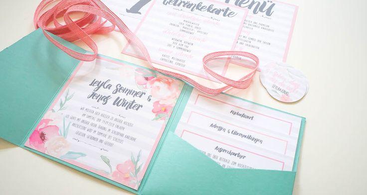 Hochzeitsset mit Pocketfoldeinladung  (Juhu Papeterie, Karlsruhe, Pocketfold-Einladung, Hochzeitsset, mint, apricot, türkis, Blumen, Pfingstrosen, Hochzeitseinladung)