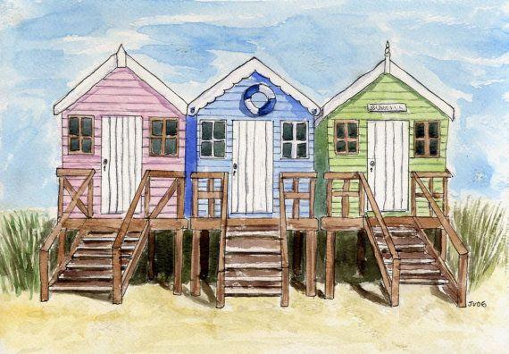 print of beach huts watercolour painting  print by WhenArtMetCloth, £15.00