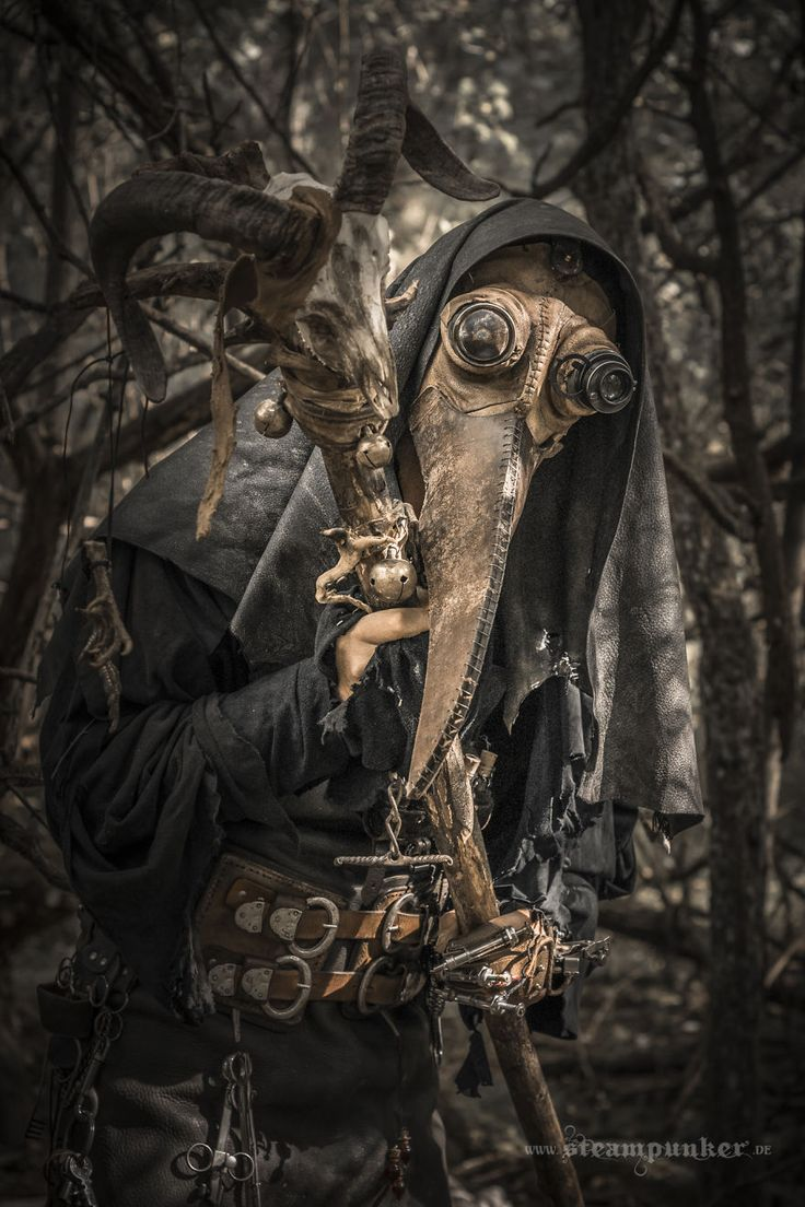 I used old leather, wood and metal to create this Plague Doctor costume and took photos with it in the forest...