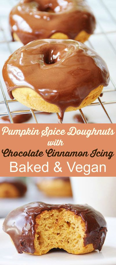 Baled and vegan, this delicious fall flavored doughnut is as healthy as one can get. Savory pumpkin and a dark chocolate cinnamon icing. Easy to make! #vegan #pumpkin #doughnut