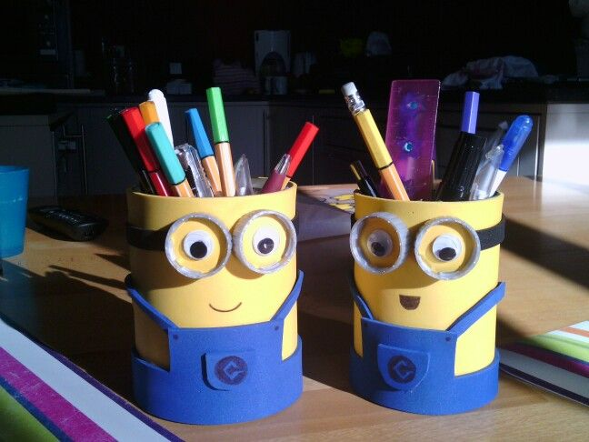 Pen Stand Designs For Kids : Pen holder tin can project minions made by lien