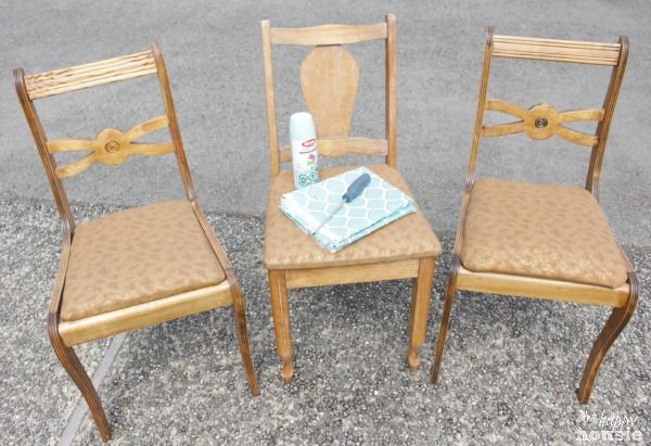 Turn Thrift Store Dining Chairs into Outdoor Chairs at The Happy Housie before