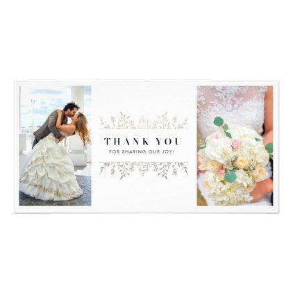 Elegant Rose Gold Chic Wedding 2 Photo Thank You Card - wedding thank you gifts cards stamps postcards marriage thankyou