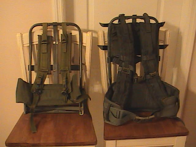 ALICE pack frame next to the newer style MOLLE pack frame.  ALICE vs MOLLE - clear to see that the new gear is nicer.