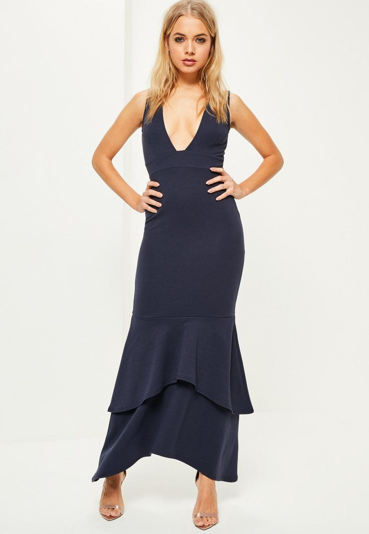 Missguided Navy Crepe Plunge Fishtail Maxi Dress Prom