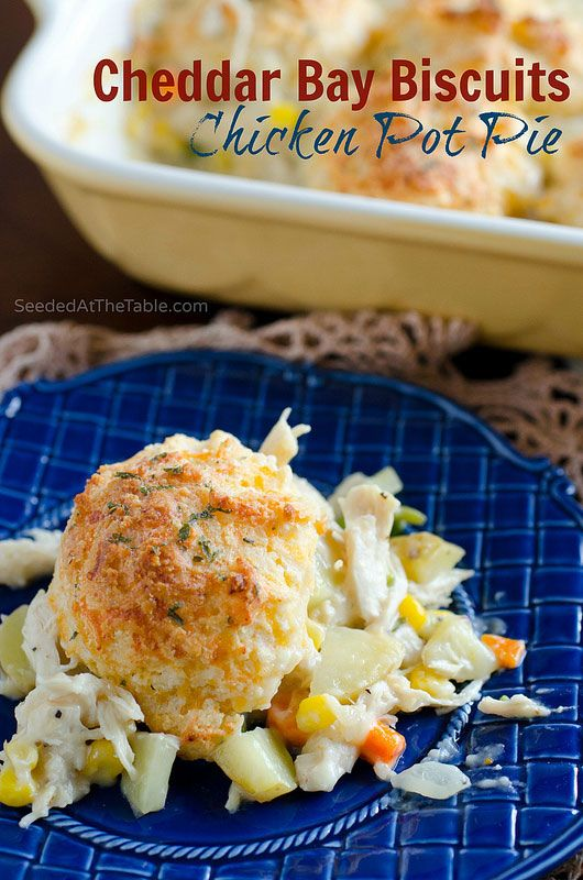 Cheddar Bay Biscuits Chicken Pot Pie!  Homemade chicken pot pie, crusted with cheesy garlic biscuits (a copycat recipe of Red Lobster's Cheddar Bay Biscuits.)