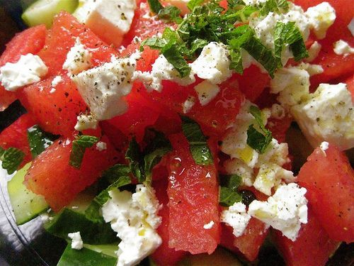 Watermelon Salad Recipe With Cucumbers, Mint and Feta Cheese | Colleen walton made this for a staff party. YUM!