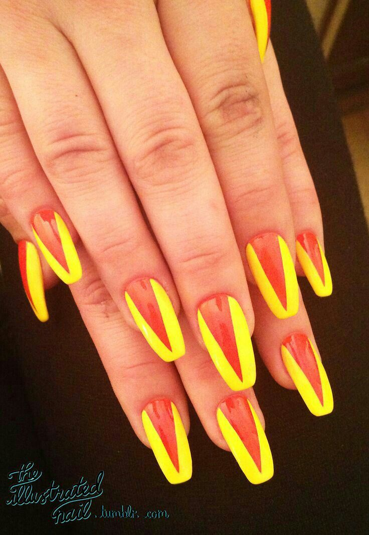 68 best nails ballerina images on pinterest nail scissors squareletto nails with orange and yellow v shape nails nail orange yellow pretty nails nail art nail ideas nail designs squareletto prinsesfo Image collections
