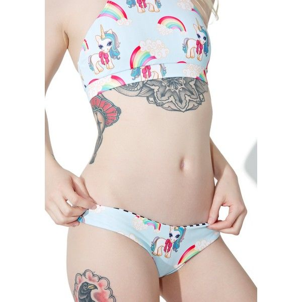 Kulani Kinis Unicorn Cheeky Bikini Bottoms ($48) ❤ liked on Polyvore featuring swimwear, bikinis, bikini bottoms, black and white bikini bottoms, striped swimwear, bikini bottom swimwear, black white bikini and white and black bikini