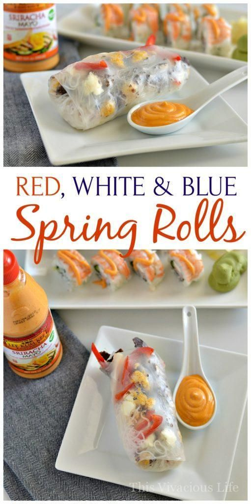 These red, white and blue spring rolls with sriracha mayo are perfect to change up your 4th of July food. They are easy to make and so delicious. | how to make homemade spring rolls | easy spring roll recipe | gluten free spring rolls | gluten free mayonn