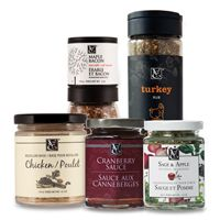 Let's Talk Turkey Bundle - Maple Bacon Sea Salt Grinder, Turkey Rub, Chicken Bouillon Base, Cranberry Sauce, and Sage & Apple Stuffing Seasoning. Includes Recipe Booklet with drink pairing and a bonus recipe.  47$ retail value of 53$ http://carolineprice.myepicure.com/