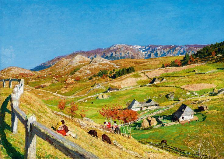 GLATZ OSZKÁR (1872 - 1958) A beautiful Transylvanian village during spring time by Kieselbach Gallery