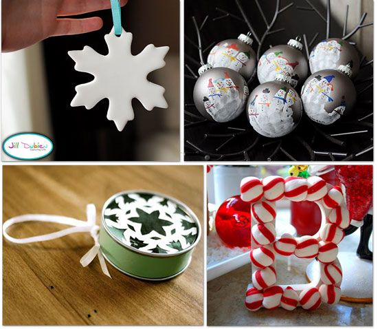 handmade ornaments....cute idea for keepsakes!  @Rochelle Harrison what do you think about the handprint snowmen for daycare??  :)