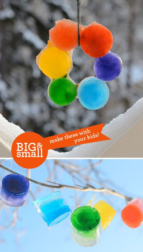 Colorful Ice Hangings. A kid-friendly project!
