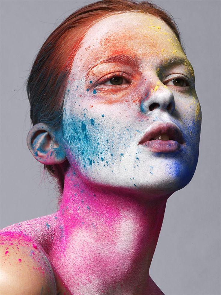 Elise Crombez- colorful splatter-makeup