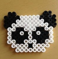 Perler Bead Panda Face Keychain by DesignsByAliselyn on Etsy