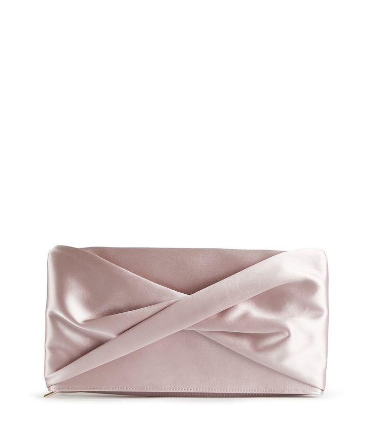 REISS BEAU SATIN SATIN CLUTCH BAG NEUTRAL. #reiss #bags #polyester #clutch #shoulder bags #lining #hand bags #cotton #