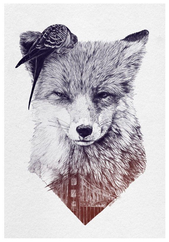 Black and Grey Fox Tattoo Design