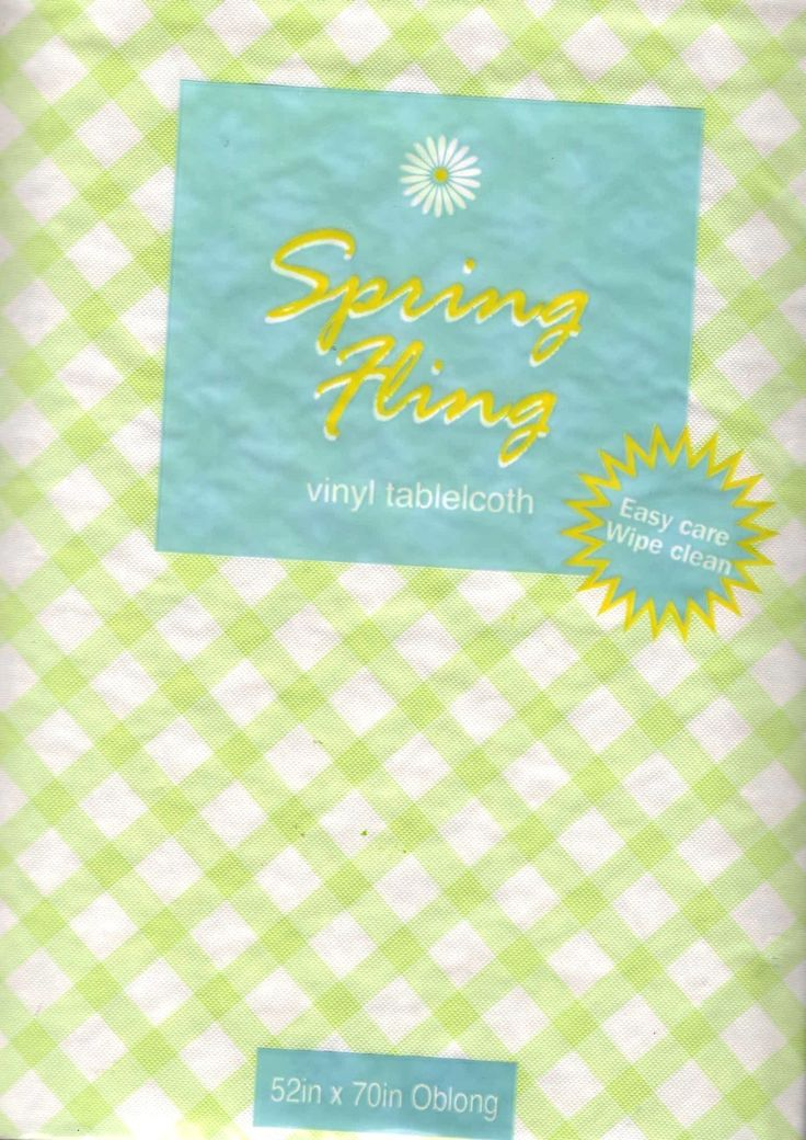 Pastel Green Check Gingham Vinyl Tablecloth Flannel Back 52 X 70   Patio U0026  Picnic Ware