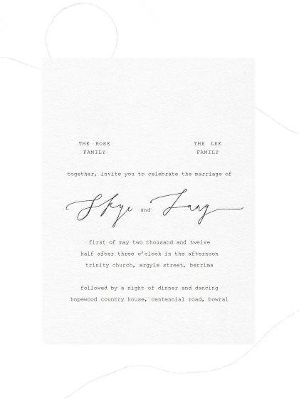 Simple, calligraphy mix   Invitation   Black on white