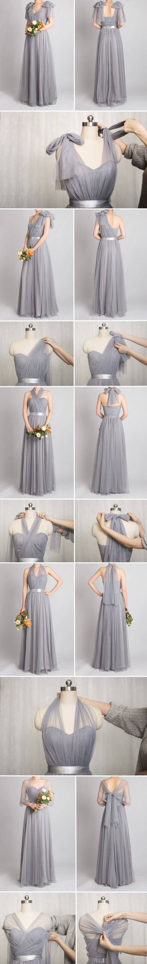 grey convertible bridesmaid dresses with tutorial #weddingcolorsinspiration #weddingpartyinspiration