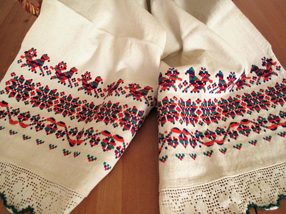 16. Vintage pure flax linen hand embroidered decor  towel or