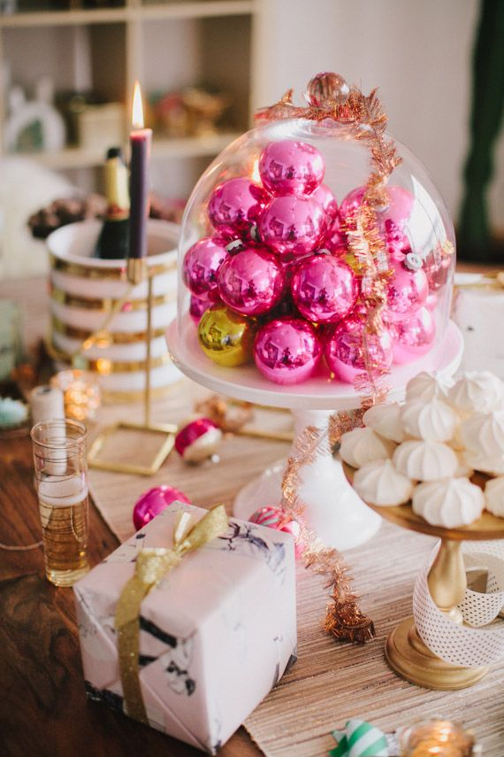 Pink Ornaments In A Cake Stand, Holiday Gift Wrapping Design Inspirations