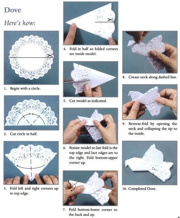 Origami doily dove instructions