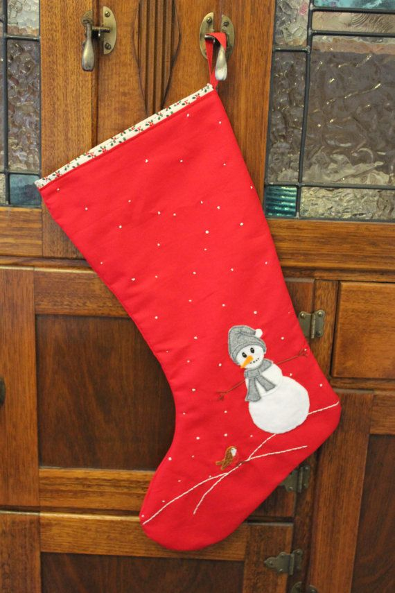 Snowman Stocking by PuddleducklaneAgain on Etsy