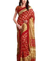 Buy Red printed bhagalpuri silk saree with blouse bhagalpuri-silk-saree online