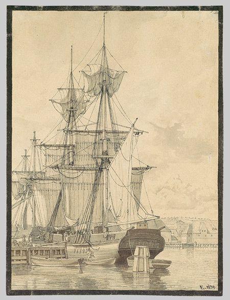 Sailing Vessels at Wilders Plads, Copenhagen, 1830