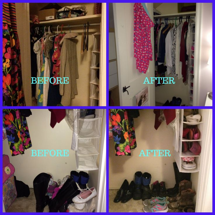 This closet had a very odd shape, and the space in it wasn't used to it's full capacity. I sorted, categorized and hung all the garments so they faced in one direction. Scarves and shoes were organized in the cells of the hanging organizer and on the floor. PJ was hung on the hook mounted on the door to make it easier for the child to use every night. Closet become Happy and so was the little girl!