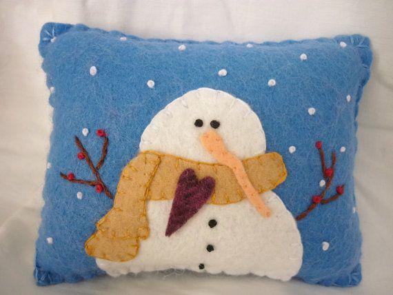 Primitive Snowman pillow penny rug felted pillow