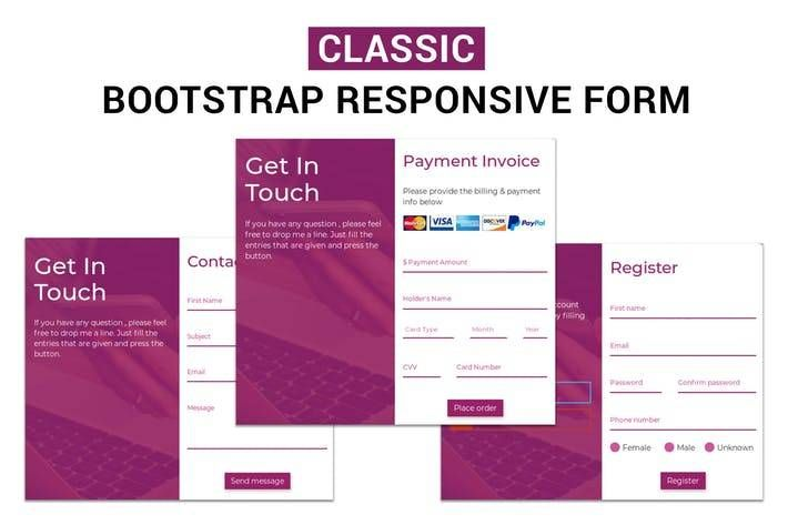 Classic Bootstrap Responsive Form Web Design Landing Page Envato