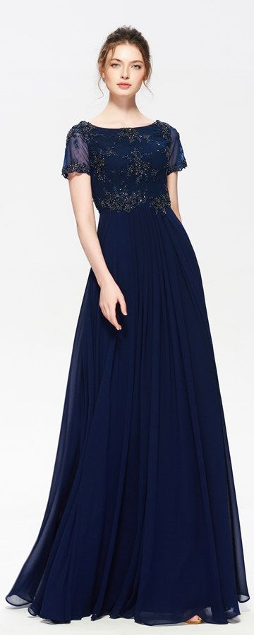 Navy Blue Modest Bridesmaid Dresses With Sleeves Beaded Maid Of Honor Long