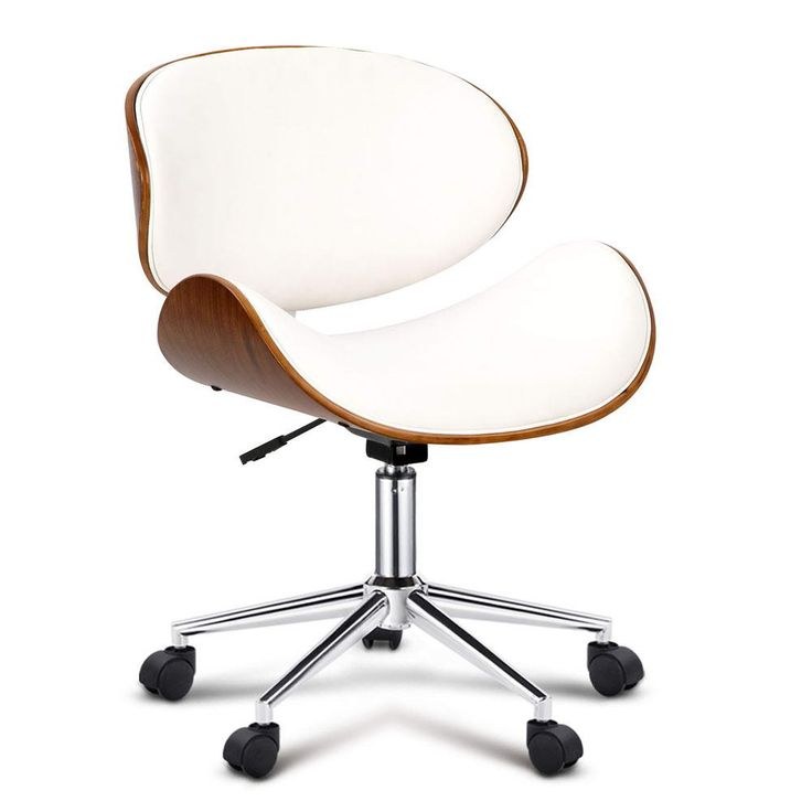 New Walnut Base Wooden Leather Padded Office Computer Home Work Chair - White