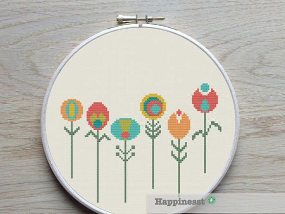 A modern flower cross stitch pattern in retro style.  Fits in a 8 inch embroidery hoop (14 count).  Buy 4 patterns and get 25% discount! Place 4 patterns in your cart and enter the code HAPPINESST3and1free at checkout and you get 25% discount.  The pattern comes as a PDF file that youll will be able to download immediately after purchase. In addition the PDF files are available in you Etsy account, under My Account and then Purchase after payment has been cleared. You get a pattern in…