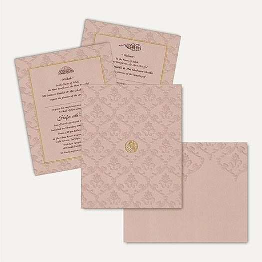 This fabulous card has stunning self Embossed floral designs on the entire front with matching mailing box envelope. This marvellous and modern invitation card is made from high quality of Beige Color Matt Finish card paper. Gold plated Bismillah sticker placed at center of the card gives amazing look. #IslamicWeddingCards #wedding