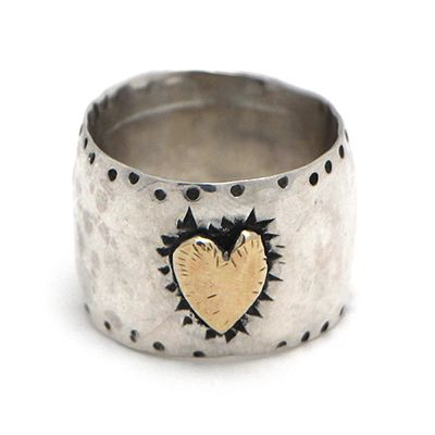 Margaret Sullivan Sterling Silver and Gold Heart Ring at Maverick Western Wear