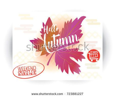 Autumn sale text banner, October, Promo, 50% autumnal shop discount. Vector fall leaf foliage gift card Chinese traditional pattern, design of Chinese Holiday Sales poster leaflet, web banner, coupon