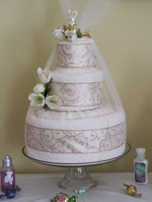 Bridal Shower Towel Cake | Luxury Wedding Towel Cake. Our most popular Wedding Towel Cake.