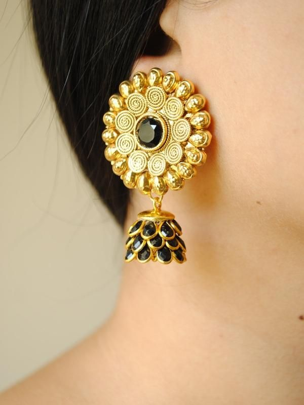 So beautiful! -https://www.cooliyo.com/product/91669/black-gold-jhumkis/