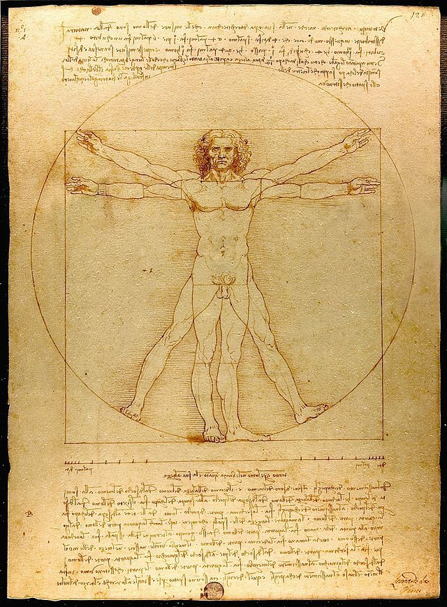 Leonardo's attempt to draw a human body in accordance with laws of proportion by Roman architect Vitruvius.In addition to using math to define how ideal male body should look, Vitruvius also claimed that these rules reflected a sort of sacred geometry in nature and should be applied to man-made buildings. Many artists have tried to put Vitruvius' laws to paper, but Leo's version continues to be considered the closest to what Vitruvius claimed was physical perfection.