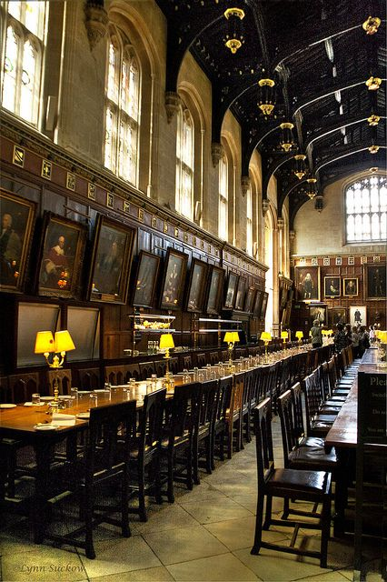 georgianadesign:    Christchurch Hall dining room (1529) at Oxford University. Rumored to be the model forHarry Potter's Dining Hall(bywalla2chick).: Dining Rooms, Oxfords Universe, Christchurch Hall, Christ Church, Harry Potter Movie, Places, Hall Dining, Dining Hall, England Photos