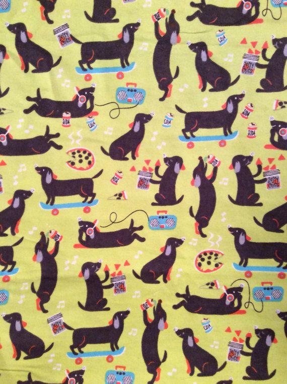 1 Yard Of Dachshund Dog Print Flannel Fabric Patterns