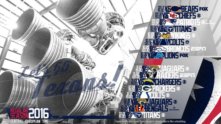 Schedule wallpaper for the Houston Texans Regular Season, 2016. All times CET. Made by #tgersdiy