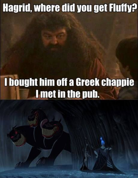 "Harry Potter & Disney References | Cerberus (Hercules) is Fluffy (Harry Potter) | ""Greek chappie"" (Harry Potter is Hades (Hercules) 