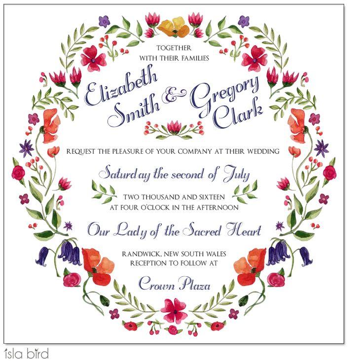 Watercolor Floral Wreath Wedding Invitation from Isla Bird Stationery (http://www.islabird.com/floral-wreath-wedding-invitation/)