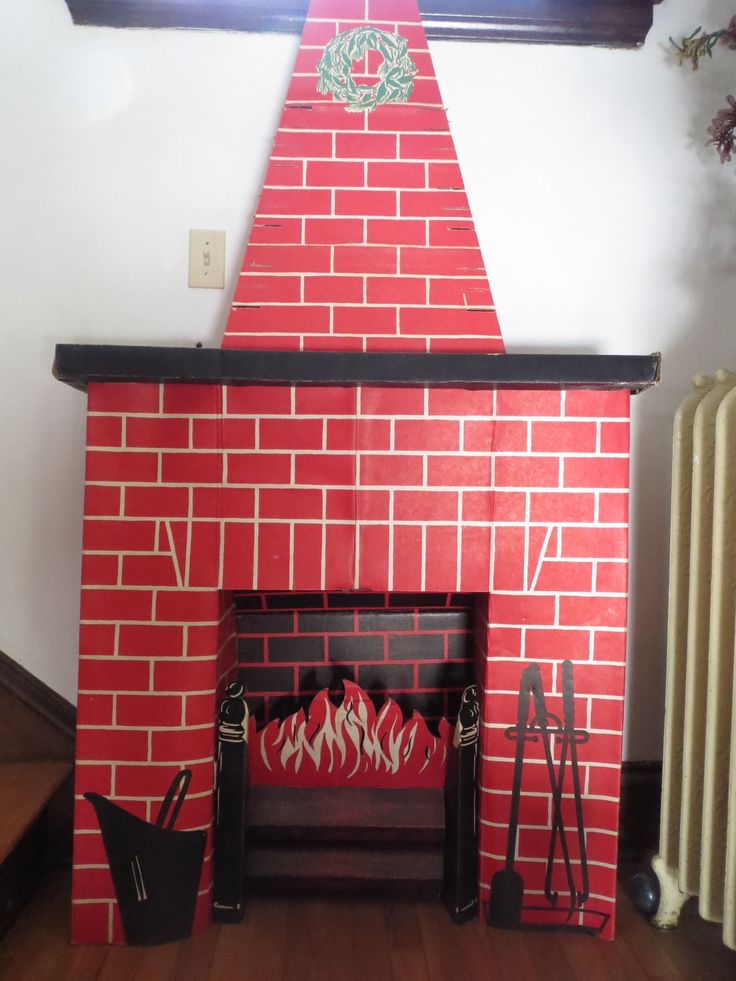 Vintage Toymaster Red Brick Chimney Cardboard Fireplace Set